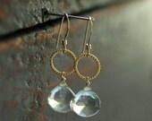 Green Amethyst Earrings, Prasiolite Gemstone Earrings, Gold Vermeil Circles, 14k Gold Filled, Elegant Bridal Wedding Jewelry