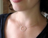 Open Circle Necklace, Sterling Silver Outline Necklace, Simple Statement Necklace, Brushed Surface Sparkly Pendant, Everyday Jewelry
