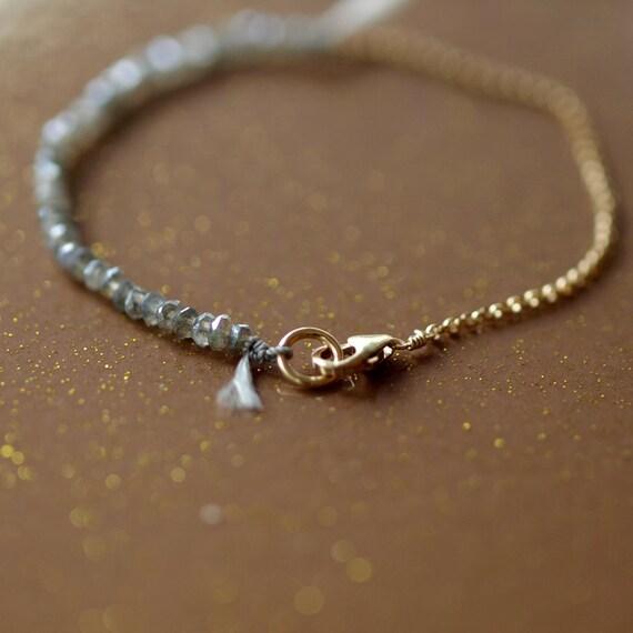 Labradorite Bracelet, Beaded Bracelet, Sparkly Gemstone Bracelet, 14k Gold Filled, Arm Candy, Delicate Bracelet, Layering Jewelry