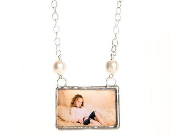 CUSTOM PHOTO memory keepsake necklace soldered glass pendant on silver plated link chain with freshwater pearls