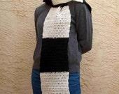 Wool Scarf - Cream and Black Blocks - Mens or Womens wide scarf