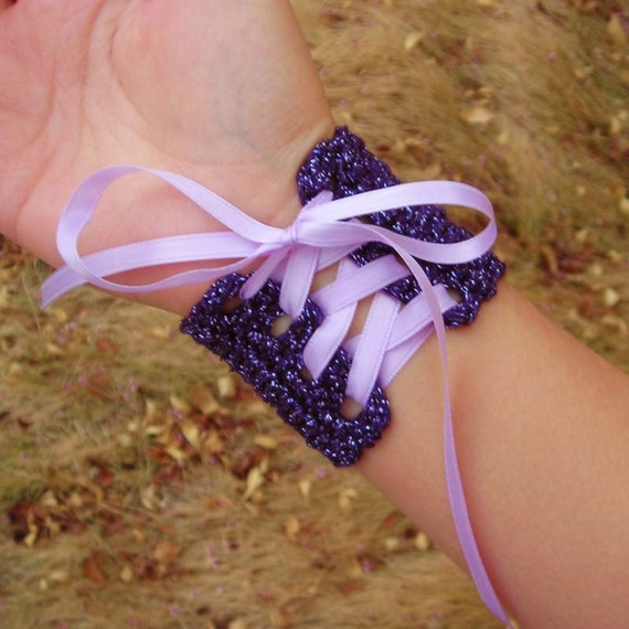Fantasy Wrist Cuff - Plum with Lilac Ribbon - Medium