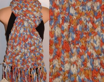 Hand Made Knit Wool Scarf Blue White Coral chunky