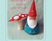felt embroidered NŌM gnome doll PDF pattern