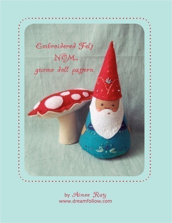 felt embroidered NŌM gnome doll PDF pattern