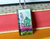 """SALE teal house 5 - original handmade 1"""" x 2"""" domed glass pendant with chain"""