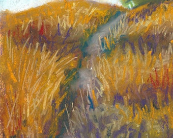 Pastel Landscape Drawing Golden Path Original Pastel Painting Kitchen and Home Wall Art Matted and Ready To Frame