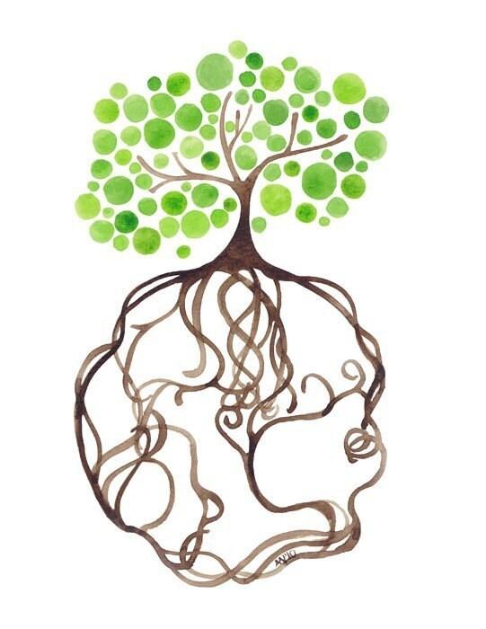 Watercolor Tree Natural Roots Print Earth Artwork Wall Decor