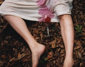 Catching or Spilling - FREE SHIPPING - Print Woman Pink Red Wine Legs Dirt Ground Leaves Spilled Nature Brown Woods Surreal Weird Art