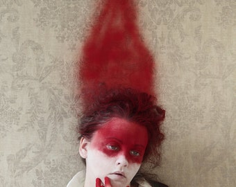 In The Red - FREE SHIPPING Surreal photo print Dark art image Creepy portrait Blood streak Red trail Spray painted womans face Weird decor
