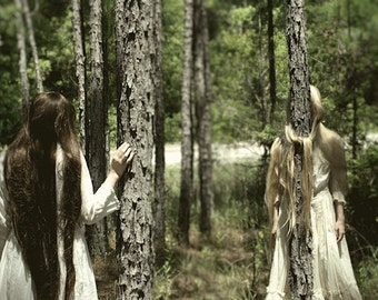 Knots - FREE SHIPPING Surreal Photo Print Fine Art Dark Image Creepy Nature Trees Woods Forest Girls Sisters Green Trapped Vintage Dress