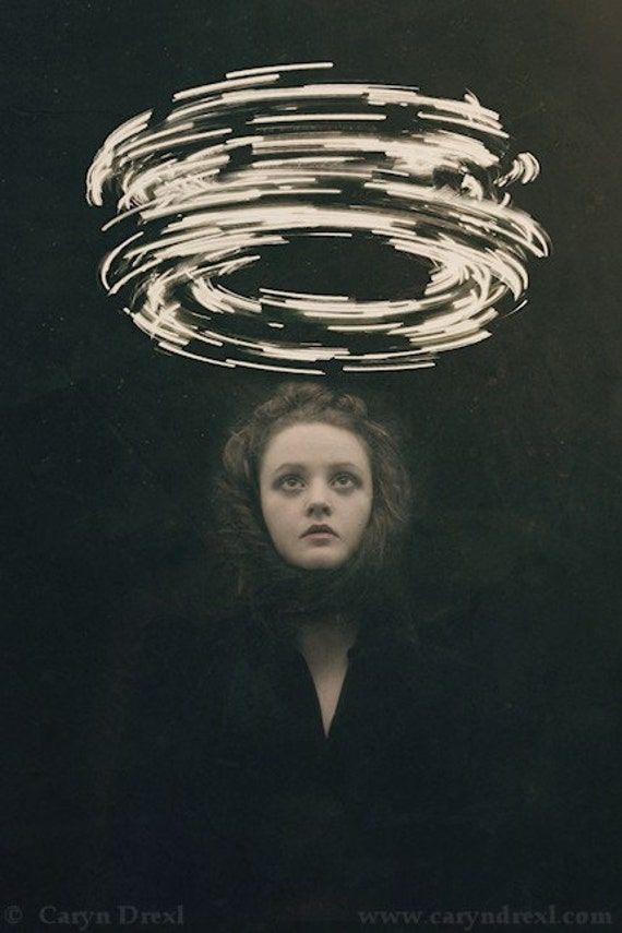 Conjuring - FREE SHIPPING Surreal Photo Print Dark Art Magic Creepy Portrait Image Light Circle Wormhole Woman Face Dark Black Haunting