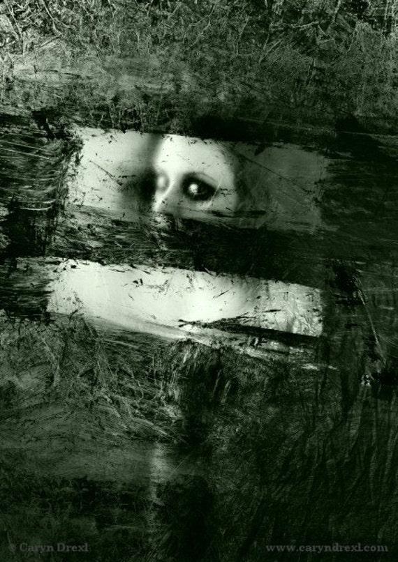 Plastic Windows - FREE SHIPPING - Print Girl Black White Gray Painted Texture Eye Creepy Haunting Surreal Dark Art Portrait