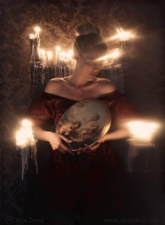 Seeking Illumination - FREE SHIPPING Surreal Photo Print Fine Art Image Dark Art Creepy Portrait Woman Fire Light Shadows Red Candles Angels