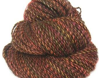 FALLING LEAVES handspun handdyed Wensleydale wool alpaca yarn