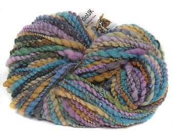 handspun handdyed Falkland wool with beads