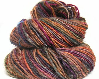 CARNELIAN handspun handdyed sparkly superwash BFL wool yarn