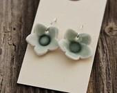Earrings - Green Porcelain Flowers -ON SALE