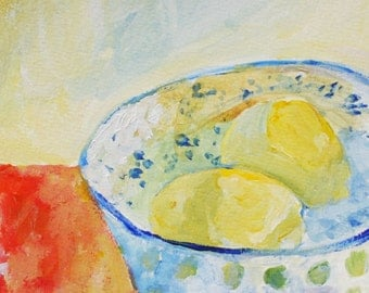 Lemon painting Lemons in a bowl print of original painting