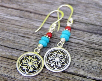 sterling silver mandala charms, faceted mexican turquoise, and red coral gemstone dangle earrings. eat pray love. bohemian boho earrings.