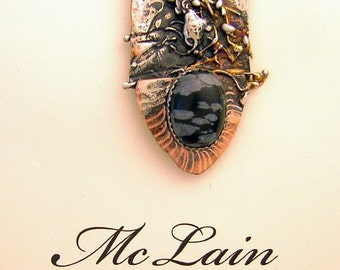 Sterling Silver , Married metals with Snowflake Obsidian Pin Brooch by Cathleen McLain McLainjewelry 1125