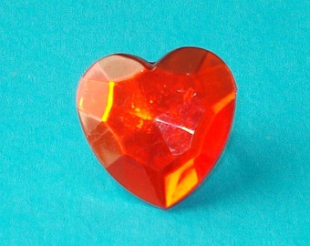 LAST ONE! Big Love - Giant Red Faceted Heart Adjustable Ring
