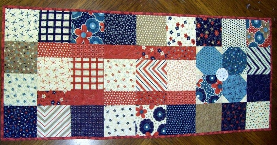 Sale - 30 percent off regular price - Quilted Table Runner - Country Red White and Blue