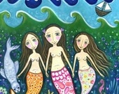 Mermaid art print whimsical folk art girls room wall decor three sisters art children's wall decor three friends art - 'Ocean of Trust'