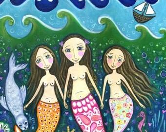 Mermaid art print whimsical folk art girls room wall decor three sisters art children's wall decor three friends art - 'Ocean of Trust'