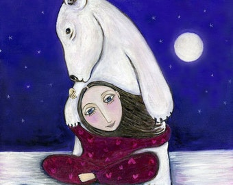 Polar Bear Art Print whimsical Folk Art childrens Wall Decor Nursery Art Dream Series