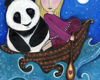 Girl and Panda in Boat - Whimsical Folk art - Nursery Childrens Room Art - Dream series - 'Out At Sea'
