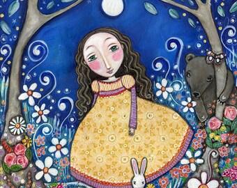 "Girl bear rabbit art print secret garden girls room art nursery wall whimsical folk art painting forest woodland animals -  ""Secret Garden"""