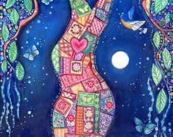 Tree art print patchwork picture design inspirational whimsical folk artwork bluebirds butterflies wall decor - The Healing Place