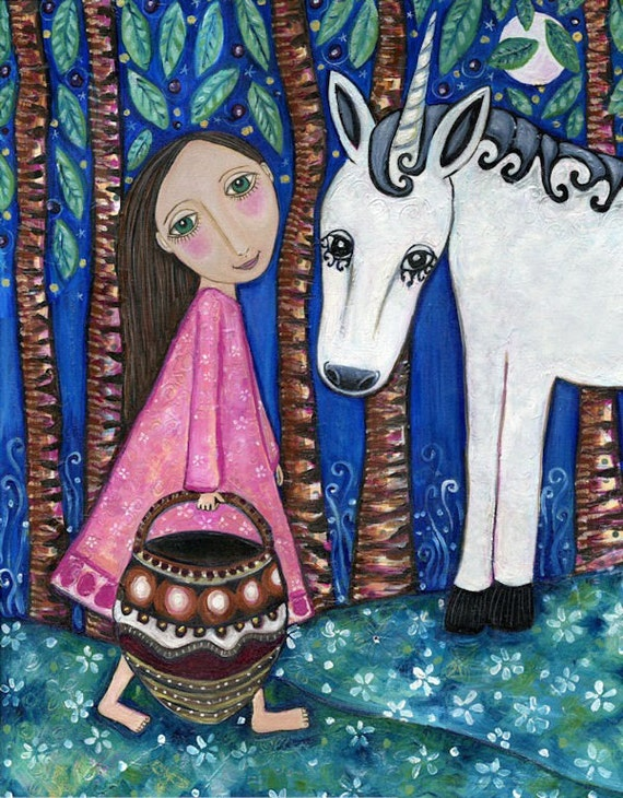 Unicorn art print girls room folk painting whimsical gift animal white horse forest cute Nursery Print kids Art -  'A Walk In The Forest'