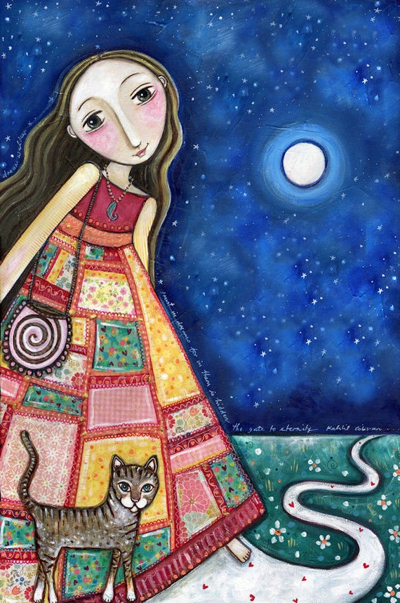 "Girls room cat art print patchwork dress mixed media nursery childrens wall decor whimsical folk style inspirational picture - ""Dreamwalker"""