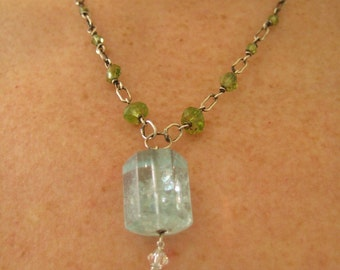 Icy Aquamarine peridot sterling necklace