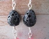 Lava Rock Earrings, black earrings, pink earrings, dangly earrings,  aimeejoan