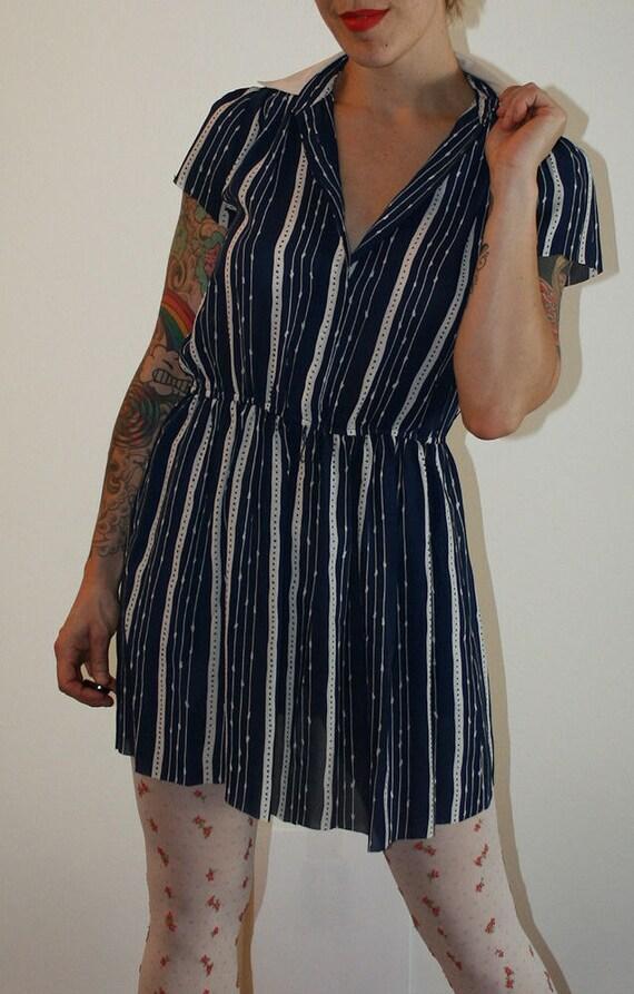 Vintage 80s Sheer Preppy Stripe Shirt Dress