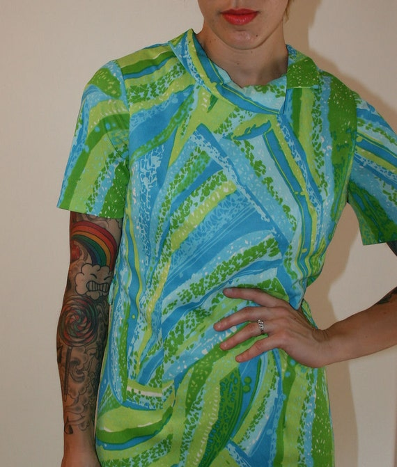 Vintage 60s Watercolor Swirl Day Dress ON SALE