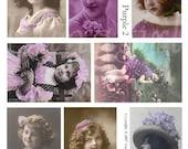 PURPLE GIRLS digital collage sheet, vintage images photos Victorian children flappers hats lavendar tinted altered art ephemera DOWNLOAD