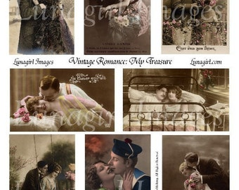 VINTAGE ROMANCE 1 collage sheet DOWNLOAD couples vintage photos images digital ephemera women altered art lovers kiss flappers romantic sexy