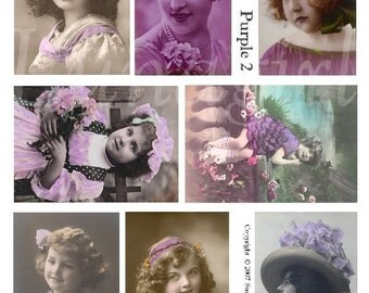 PURPLE GIRLS digital collage sheet, vintage images photos Victorian children flappers hats lavendar tinted altered art ephemera DOWNLOAD