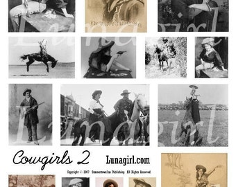 COWGIRLS 2 collage sheet DOWNLOAD vintage photos images western women altered art americana digital ephemera horses rodeo