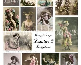 BEAUTIES digital collage sheet vintage images photos Victorian Edwardian women romantic tinted altered art ephemera showgirls divas DOWNLOAD