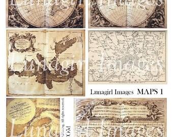 MAPS, digital collage sheet, vintage images, antique books, ephemera, medieval, steampunk, paper globe world London backgrounds DOWNLOAD