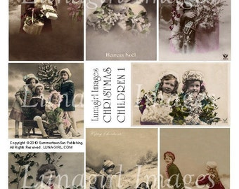 CHRISTMAS CHILDREN digital collage sheet DOWNLOAD vintage photos Victorian images holidays snow girls French postcards ephemera altered art