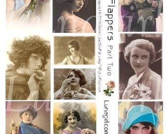 FLAPPERS 2 collage sheet DOWNLOAD vintage photos images 1920s women altered art digital ephemera sassy romantic