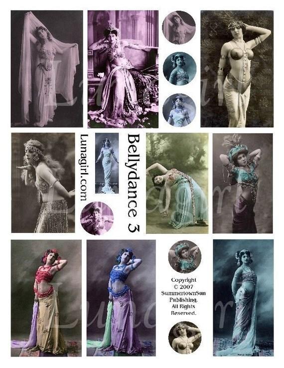 BELLYDANCE digital collage sheet DOWNLOAD, dancers vintage photos women girls, altered art exotic tribal, mata hari images, French postcards