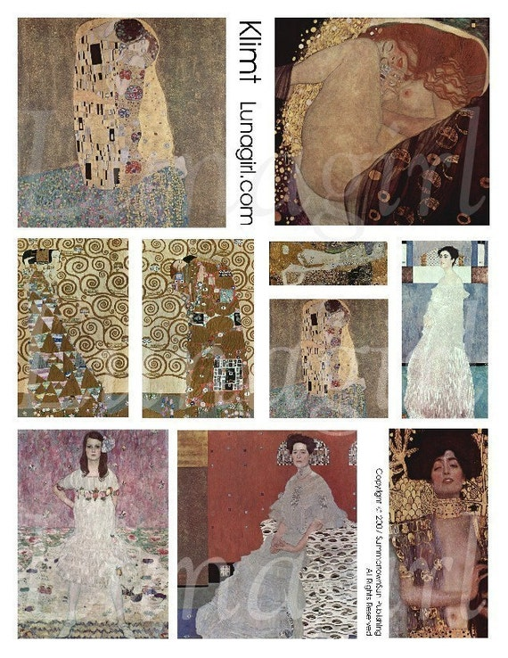KLIMT collage sheet DOWNLOAD altered art nouveau art deco women nudes the KISS vintage images floral avant garde ephemera digital