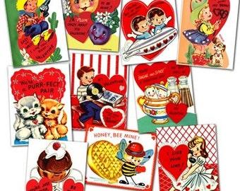Vintage Retro 1950s Jumbo Valentine Cards Digital File Printable INSTANT DOWNLOAD